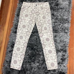 NWT Free People Ivory & Brown Floral Jeans…